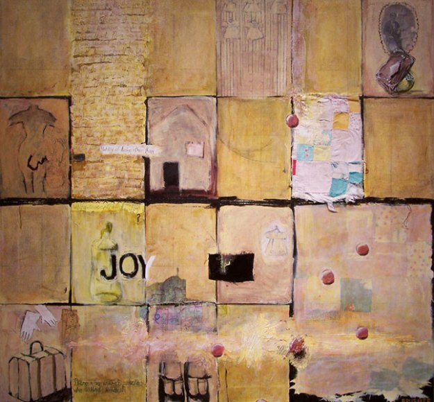 In Search of Joy, 2006, 97x102 cm, acrylic on canvas with collaged quilt scrap. Not shown: bespoke float frame in oak with birch splines.