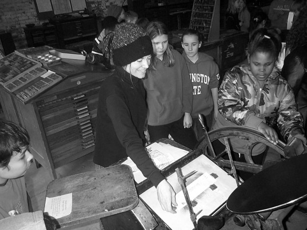 students letterpress printing