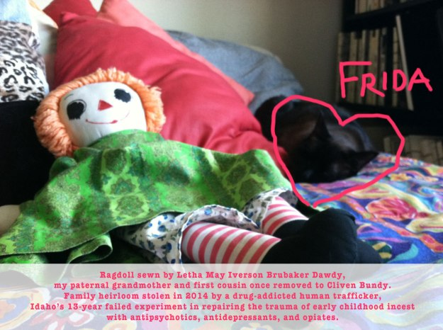 service animal frida with heirloom doll