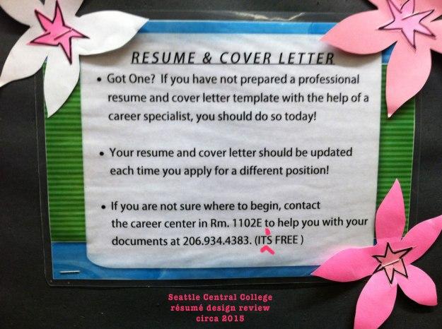 seattle central college résumé advice