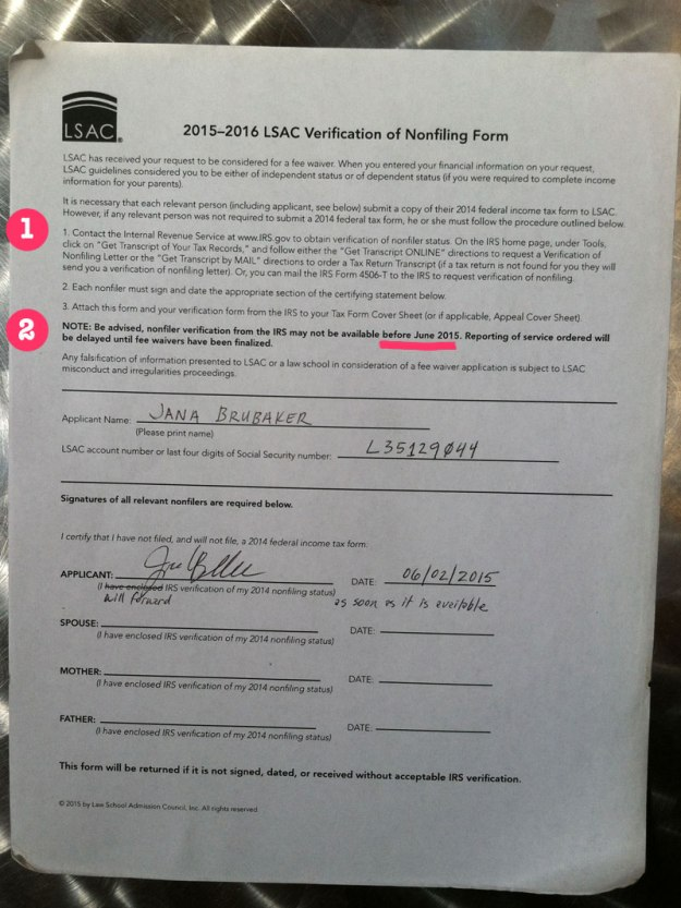 lsac nonfiling certification